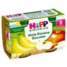 HIPP OMOGENEIZZATI MELA BANANA E BISCOTTO - DAL QUINTO MESE - 2 x 125 G